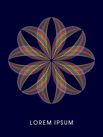 venation: Abstract  flower blossom, designed using colorful line graphic vector. Illustration