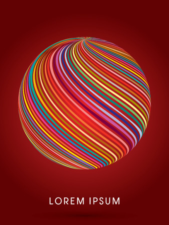 curve ball: Abstract ball, designed using colorful line curve graphic vector.