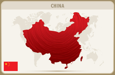 abrasion: CHINA map graphic vector.
