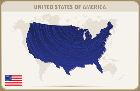 abrasion: UNITED STATES OF AMERICA map graphic vector. Illustration