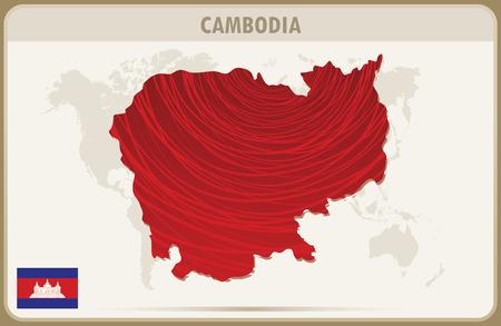cambodia: CAMBODIA map graphic vector.