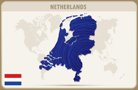 netherlands map: NETHERLANDS  map graphic vector. Illustration