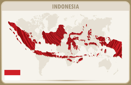 world map with countries: INDONESIA  map graphic vector.