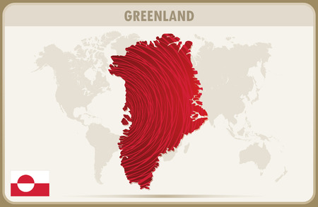 greenland: GREENLAND  map graphic vector.