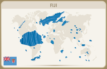fiji: FIJI map graphic vector. Illustration
