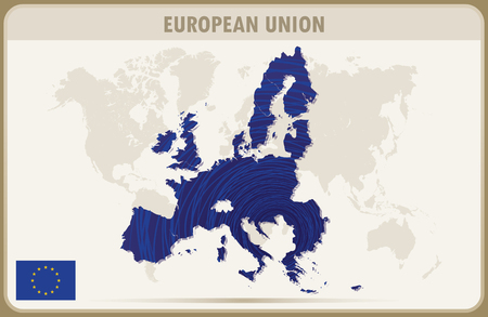 EUROPEAN UNION map graphic vector.