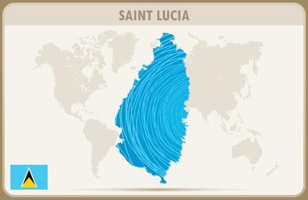 saint: SAINT LUCIA  map graphic vector.