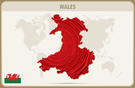 wales: WALES  map graphic vector. Illustration