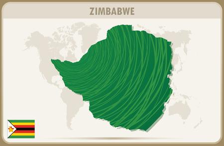 zimbabue: ZIMBABWE mapa gr�fico vectorial.