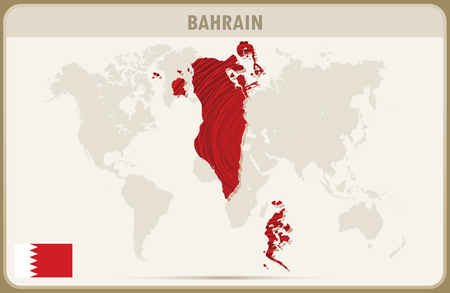 bahrain: BAHRAIN map graphic vector.