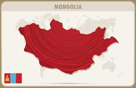 mongolia: MONGOLIA map graphic vector.