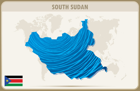 south sudan: SOUTH SUDAN map graphic vector.