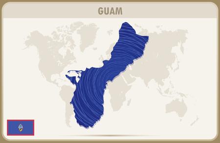 guam: GUAM map graphic vector. Illustration