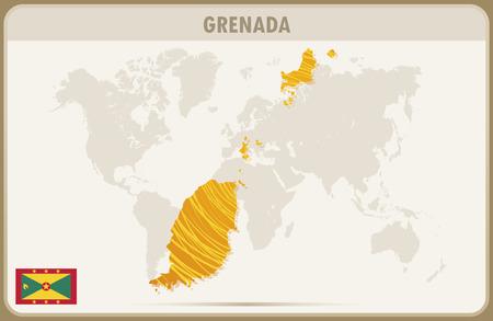 grenada: GRENADA map graphic vector. Illustration