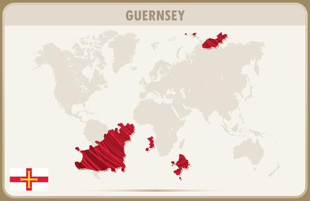 guernsey: GUERNSEY map graphic vector.