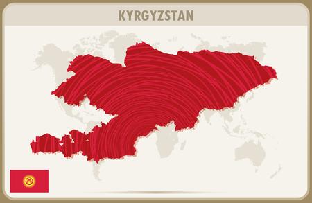 kyrgyzstan: KIRGUISTÁN mapa gráfico vectorial.
