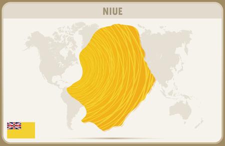 niue: NIUE map graphic vector.