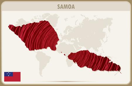 samoa: SAMOA map graphic vector.