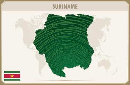 graphic: SURINAME map graphic vector. Illustration