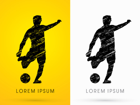 grungy: Soccer, football, player silhouette, designed using grunge graphic vector. Illustration