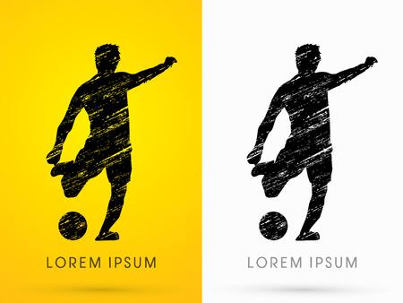 Voetbal, speler silhouet, ontworpen met behulp van grunge grafische vector. Stock Illustratie