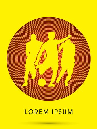 contestant: Soccer, football, player silhouette, designed using cycle red line graphic vector.