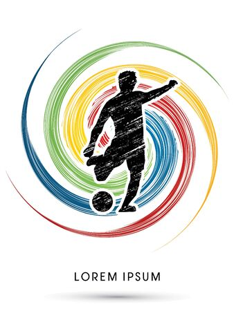 spin: Soccer, football, player silhouette, designed using grunge graphic on spin cycle vector. Illustration