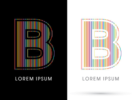 beam with joy: B ,Colorful Font, designed using colorful line graphic vector.