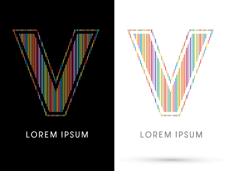 V ,Colorful Font, designed using colorful line graphic vector.