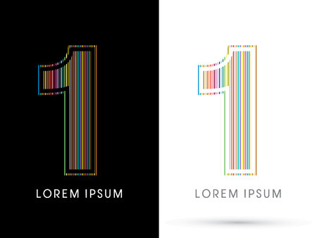 1 ,Colorful Font, designed using colorful line graphic vector. Illustration