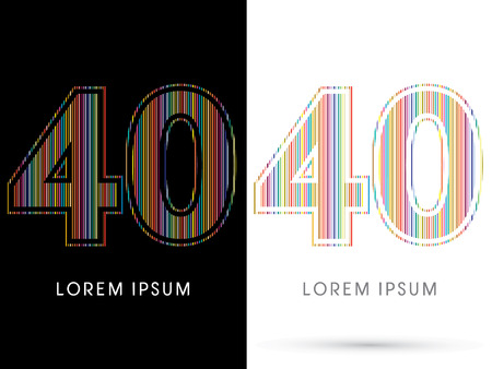 40: 40 ,Colorful Font, designed using colorful line graphic vector.