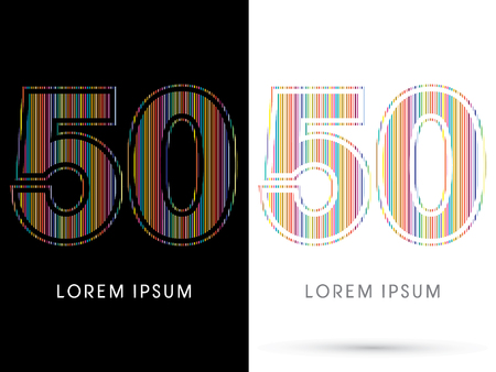 beam with joy: 50 ,Colorful Font, designed using colorful line graphic vector.