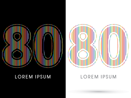 80: 80 ,Colorful Font, designed using colorful line graphic vector. Illustration
