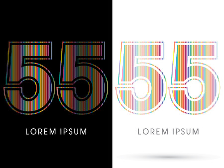 beam with joy: 55 ,Colorful Font, designed using colorful line graphic vector.