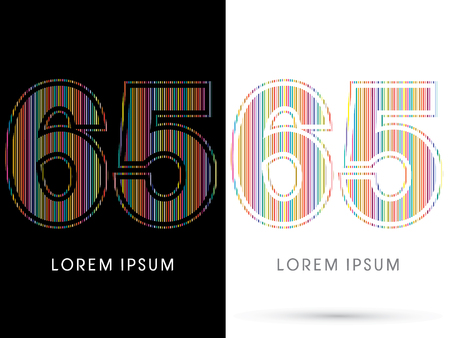 65: 65 ,Colorful Font, designed using colorful line graphic vector. Illustration