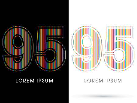 95: 95 ,Colorful Font, designed using colorful line graphic vector.