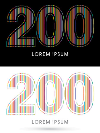 beam with joy: 200 ,Colorful Font, designed using colorful line graphic vector.