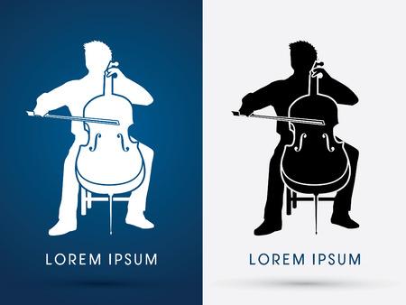 Silhouette, Cello Player, orchestra music graphic vector.  イラスト・ベクター素材