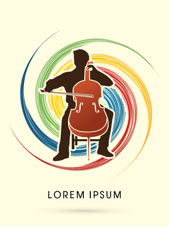fiddlestick: Cello Player, orchestra music on spin cycle background graphic vector.