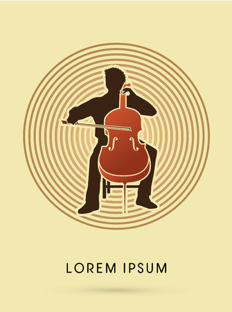 cellist: Cello Player, orchestra music on cycle background graphic vector.