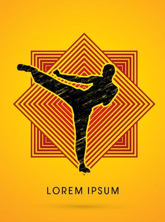 kung: Kung fu pose, man kicking designed using grunge brush on line square background graphic vector.