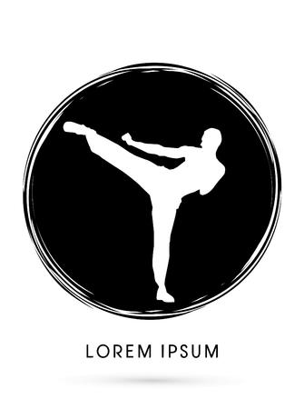 kung: Kung fu pose, man kicking designed using grunge brush graphic vector.