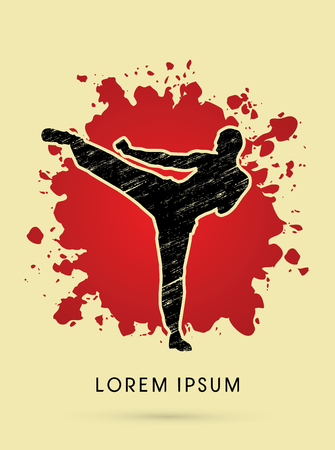 Kung fu pose, man kicking designed using grunge brush on splash blood background graphic vector.