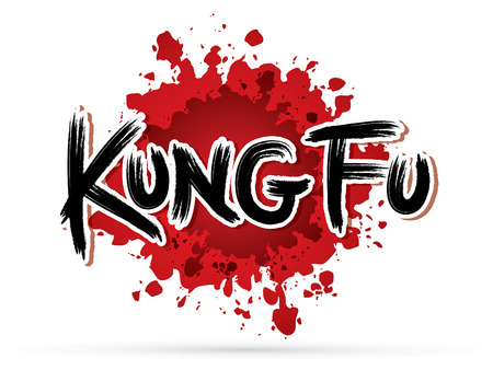 Kung fu text on splash blood graphic vector.