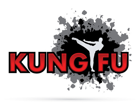 Kung fu text  with man pose kicking on grungy ink splash graphic background.