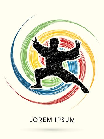 Kung fu  pose, designed using grunge brush on colorful spin line background graphic vector. Illustration