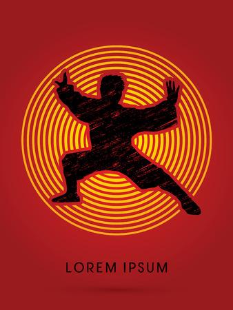 fu: Kung fu  pose, designed using grunge brush on circle line background graphic vector. Illustration