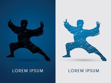 fu: Kung fu  pose, designed using grunge brush graphic vector. Illustration