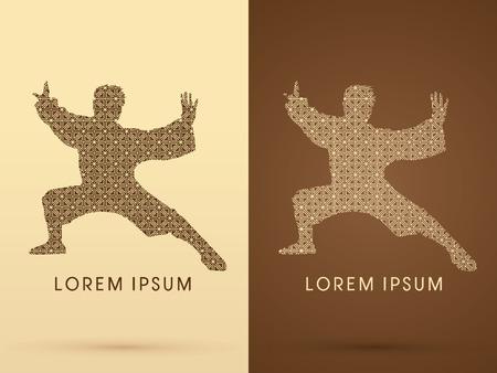 fu: Kung fu  pose, designed using  square pattern graphic vector. Illustration