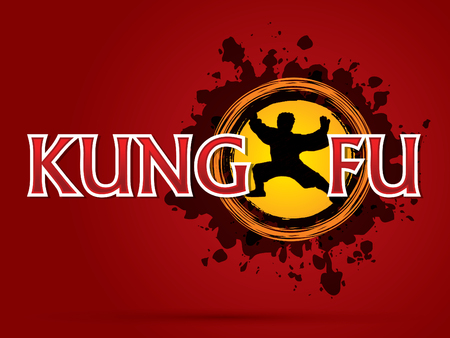 Kung fu text  with man pose on grungy ink splash graphic background. Illustration